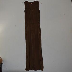 Olive Silk Maxi dress